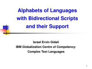 Alphabets of Languages with Bidirectional Scripts and their Support