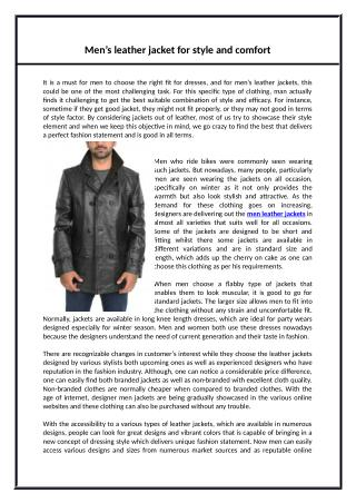 Men's leather jacket for style and comfort