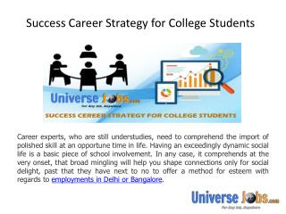Success Career Strategy for College Students