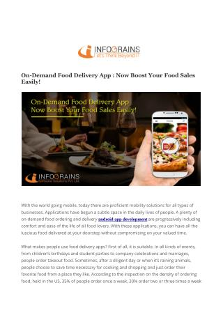 On-Demand Food Delivery App Development : Infograins