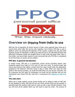 Shipping from india to usa   PPOBox(Personal Post Office)