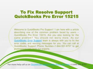 To Fix Resolve Support QuickBooks Pro Error 15215