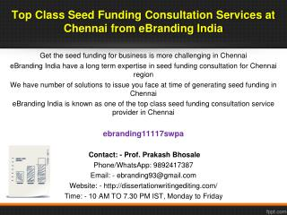70 eBranding India Consultancy is the Best Way to Get an Seed Funding for Business in  Chennai