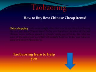 How to Buy Best Chinese Cheap items?