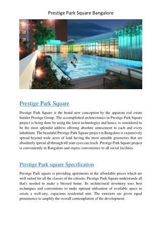 Prestige Park Square Bangalore