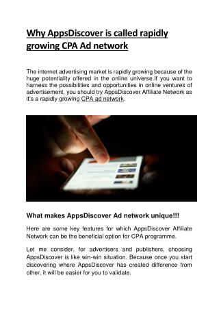 Why AppsDiscover is called rapidly growing CPA Ad network!!!!