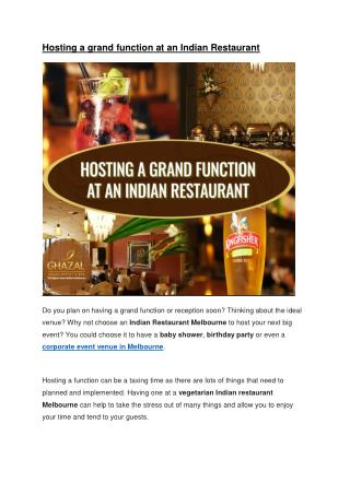 Hosting a grand function at an Indian Restaurant