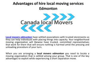 Advantages of hire local moving services Edmonton