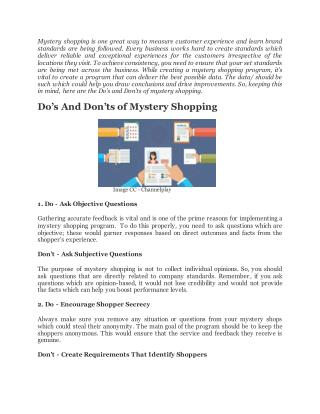 Do's And Don'ts of Mystery Shopping