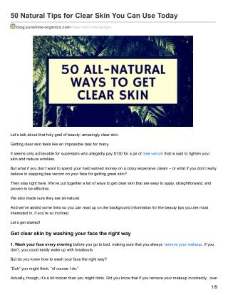 50  all-natural ways to get clear skin – Ultimate Guide