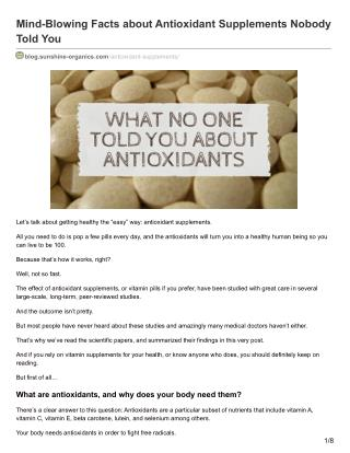Mind-blowing Facts About Antioxidants That Nobody Told You