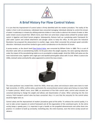 A Brief History For Flow Control Valves
