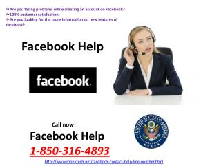 Why do we have need of Facebook Help @1-850-316-4893? Don't worry!