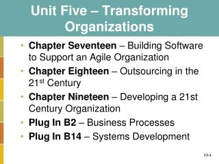 Unit Five   Transforming Organizations