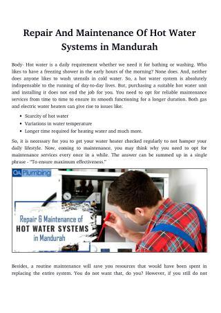Repair And Maintenance Of Hot Water Systems in Mandurah