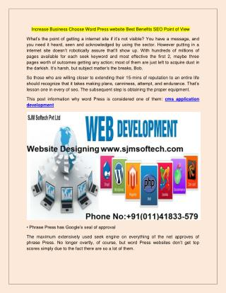 ncrease Business Choose Word Press website Best Benefits SEO Point of View