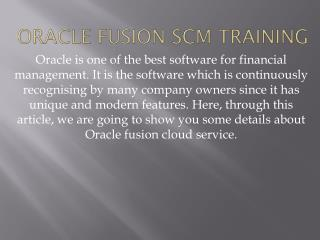 Oracle Fusion SCM Cloud Training