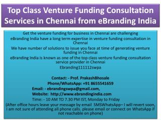 Top Class Venture Funding Consultation Services in Chennai from eBranding India