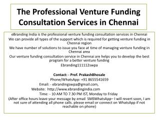 The Professional Venture Funding Consultation Services in Chennai