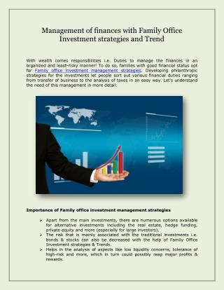 Management of finances with Family Office Investment strategies and Trend