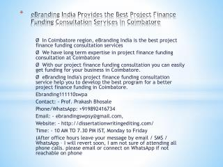 eBranding India Provides the Best Project Finance Funding Consultation Services In Coimbatore