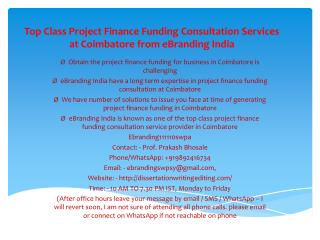 Top Class Project Finance Funding Consultation Services at Coimbatore from eBranding India