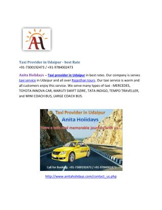 Taxi Provider in Udaipur - best rates