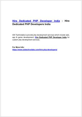 Hire Dedicated PHP Developer India : Hire Dedicated PHP Developers India