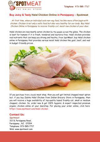 Buy Juicy & Tasty Halal Chicken Online in Parsippany