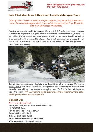 Indo-Tibet Mountains & Oasis-Leh-Ladakh Motorcycle Tours India