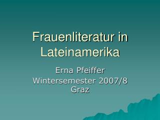 Frauenliteratur in Lateinamerika