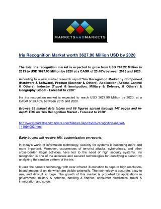 Iris Recognition Market worth 3627.90 Million USD by 2020