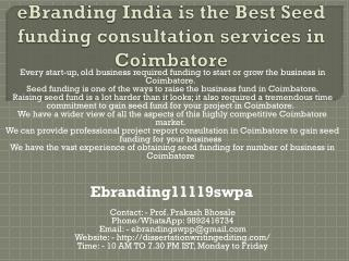 eBranding India is the Best Seed funding consultation services in Coimbatore