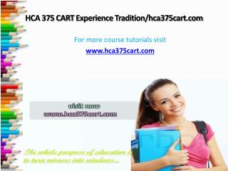 HCA 375 CART Experience Tradition/hca375cart.com