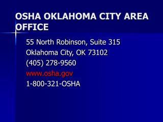 OSHA OKLAHOMA CITY AREA OFFICE