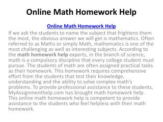 Math homework help by Math Homework Solver
