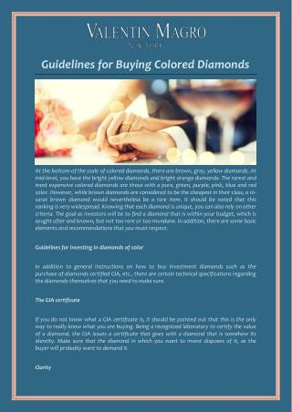 Guidelines for Buying Colored Diamonds