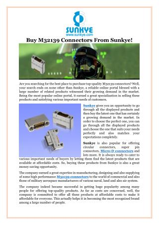 Buy M32139 Connectors From Sunkye!