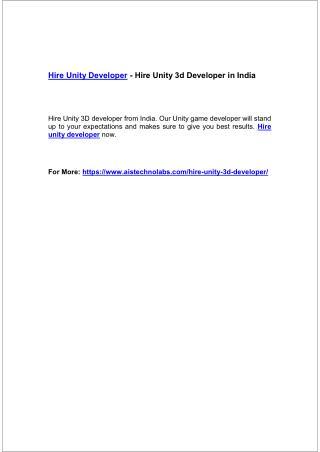 Hire Unity Developer - Hire Unity 3d Developer in India
