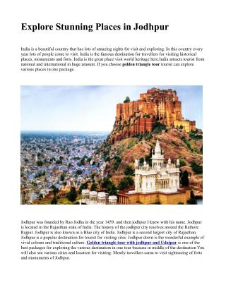 Explore Stunning Places in Jodhpur