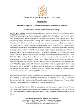 Press Release - African Islamic Finance Road Show in Cameroon
