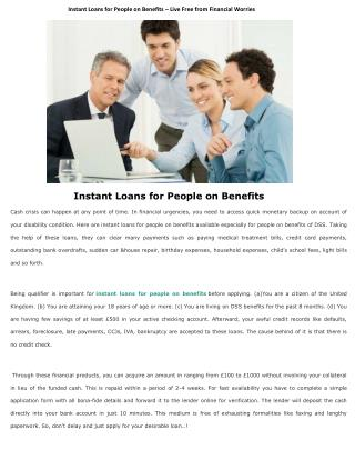 Instant Loans for People on Benefits