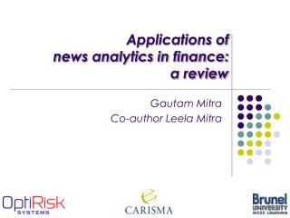 Applications of  news analytics in finance:  a review