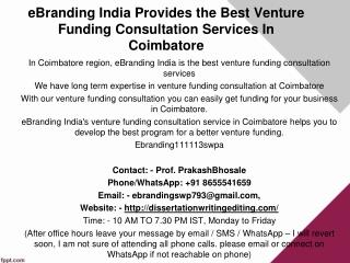 eBranding India Provides the Best Venture Funding Consultation Services In Coimbatore