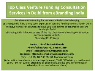 Top Class Venture Funding Consultation Services in Delhi from eBranding India
