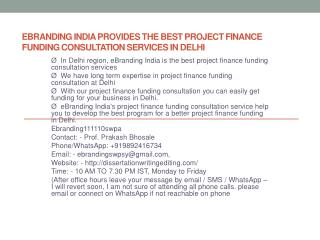 eBranding India Provides the Best Project Finance Funding Consultation Services In Delhi