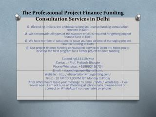The Professional Project Finance Funding Consultation Services in Delhi