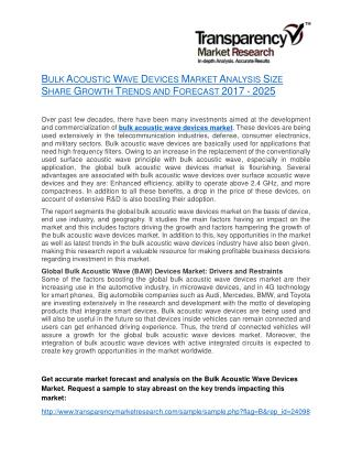 Bulk Acoustic Wave Devices Market Analysis Size Share Growth Trends and Forecast 2017 - 2025
