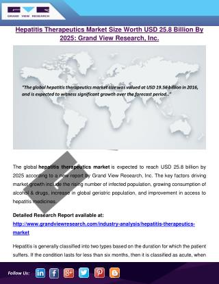 Hepatitis Therapeutics Market To Reach $25.8 Billion By 2025: Grand View Research, Inc