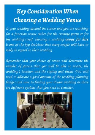 Key Consideration When Choosing a Wedding Venue
